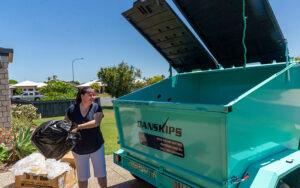 Rubbish Disposal Danskips Tralier Mounted Skp Bins for Hire
